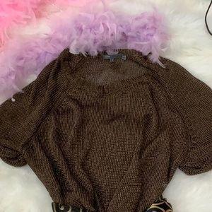 Vince metallic bronze knit top sz s